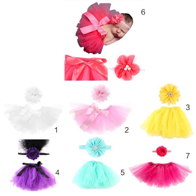 Baby Girls  Puff Dress/&Headdress Flower Newborn Clothes Photo Prop Skirt Sets