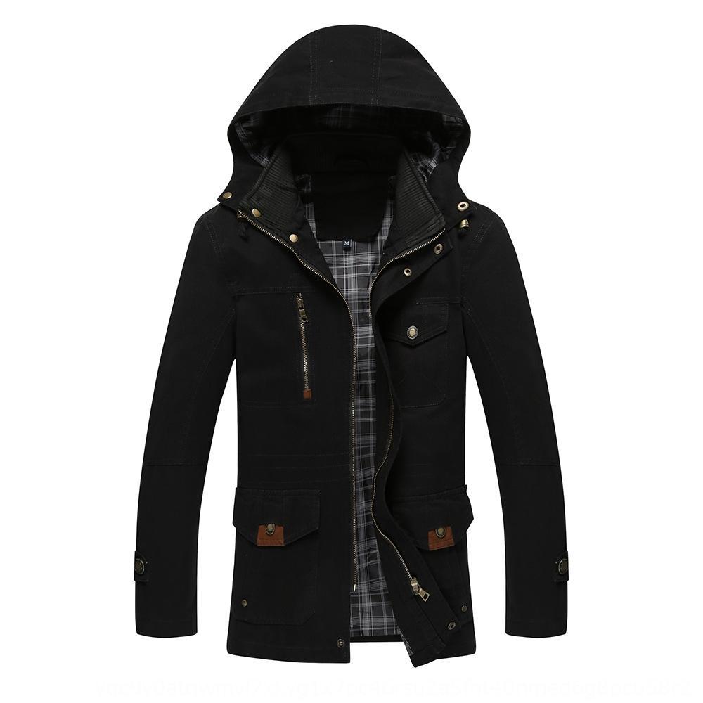 Otoño de los hombres y medio lavada algodón puro capa de agua chaqueta delgada chaqueta larga con capucha