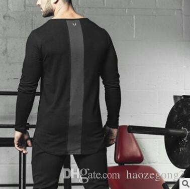 2019 New Mans round neck Designer Gyms Long Sleeve T-shirts Slim Fit Fashion Cotton Casual Fitness T-shirt Men Super Tee Shirts