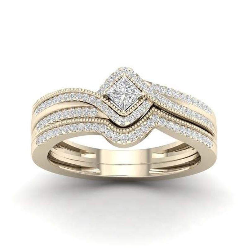 Oro rosa oro argento colore scintillante quadrato zircone principessa anello set di alta qualità matrimonio fidanzamento gioielli gioielli bague femme