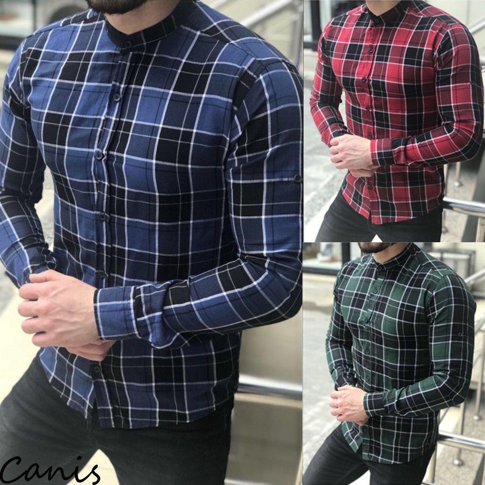 Mens Plaid Long Sleeve Shirts