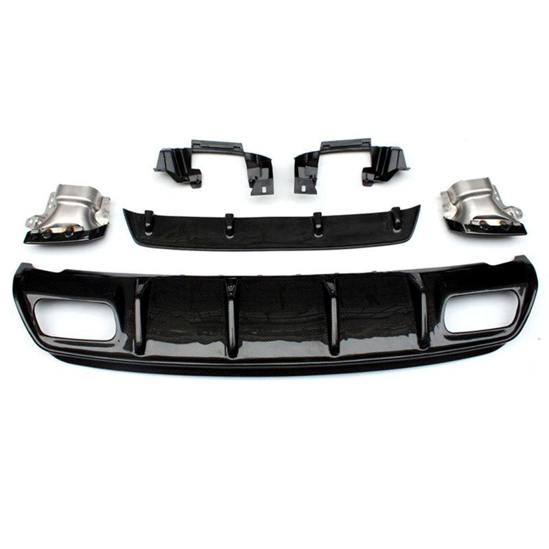 Один набор для W176 Real Carbon Fibre Car Задний бампер Диффузор для губ для B-ENZ Class 2013-2017 Задний выхлопной диффузор