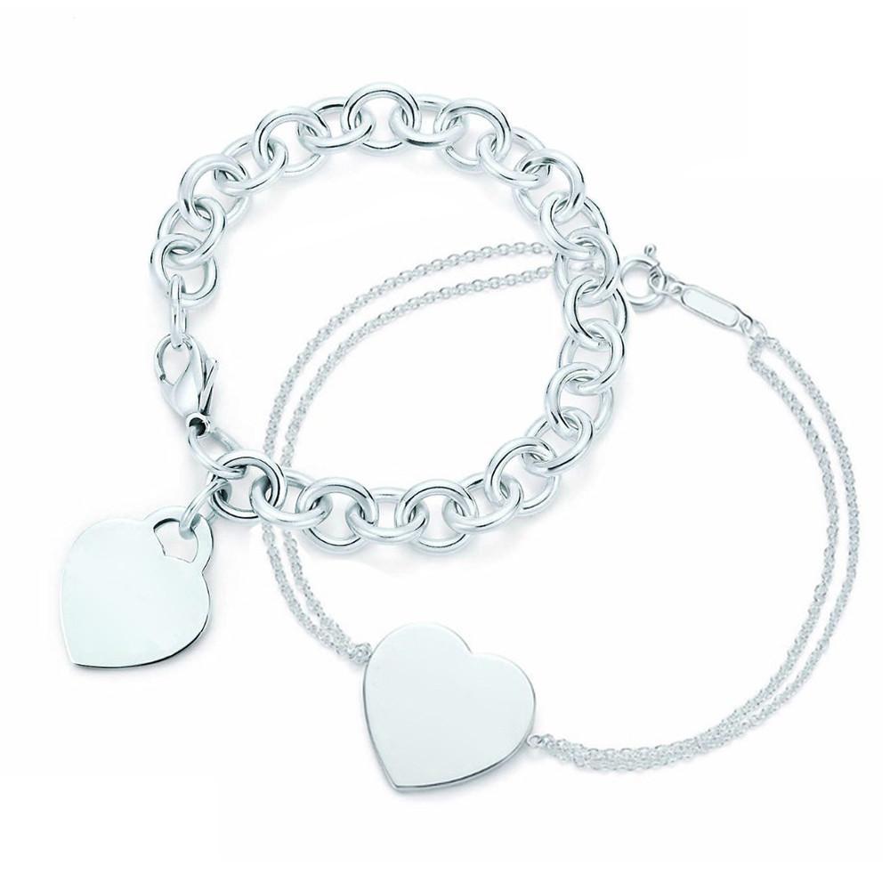 Nuevo 100% 925 Sterling Silver Corazón En forma de mujer Pulsera elegante Pulsera Brazalete Silverware Matching World Jewelry Regalos