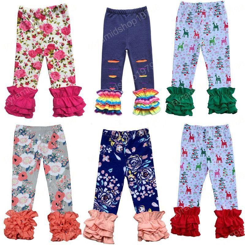 Natal de graças Meninas Ruffle Calça bebê mais quentes Leggings Tights moda infantil Leggings Flower Calças Xmas calças de algodão 11 estilos