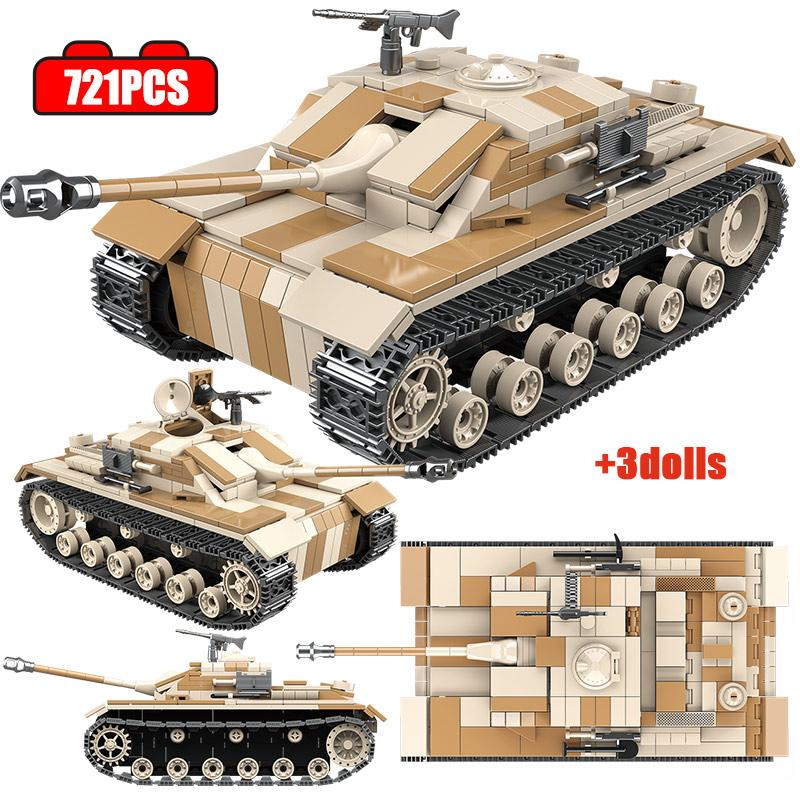 721PCS City WW2 Germany Army Tank Building Blocks Military Tank Model Soldier Figures Weapon Bricks Toys For Children