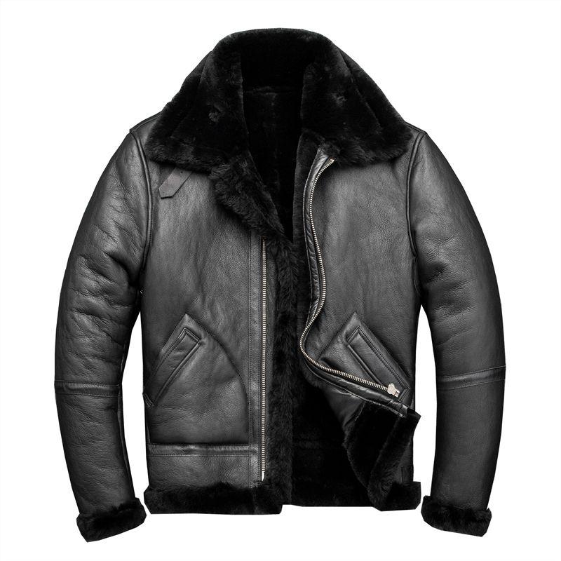 2020 الرجال السود النمط الأمريكي الشتاء B3 منفذها زبدة نباتية معطف سميك ريال جلد الغنم الطيار سترة جلدية FREE SHIPPING