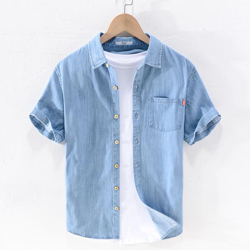 Été nouveau chemises bleu à manches courtes hommes chemise coton denim marque mode pour les hommes occasionnels des hommes de chemise confortable CHEMISE camisa
