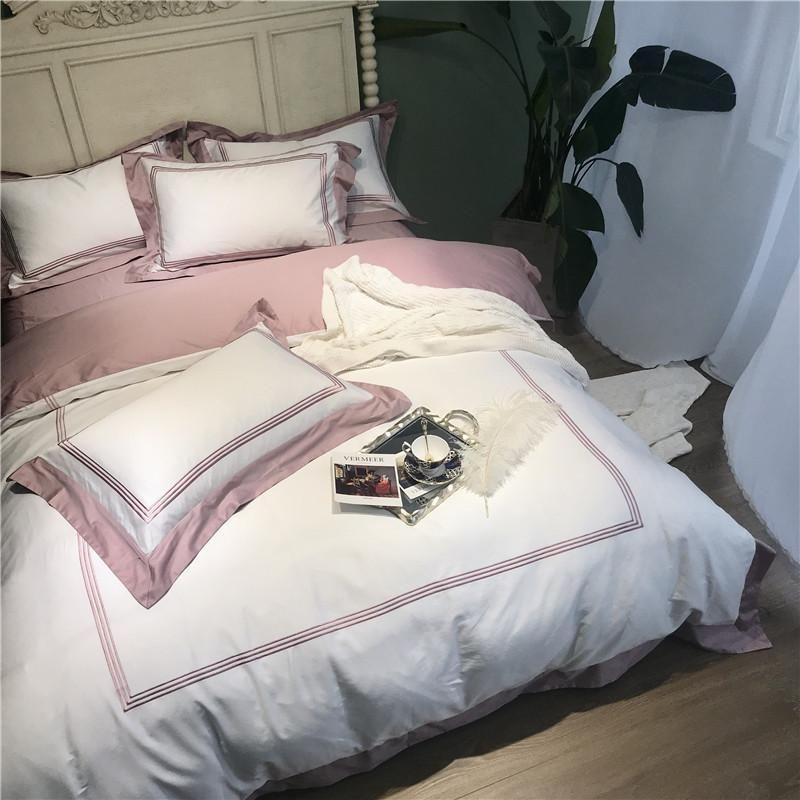 화이트 핑크 이집트 산면 호텔 침구 세트 자수 퀸 / 킹 사이즈 침대 세트 이불 커버 침대 시트 장착 시트