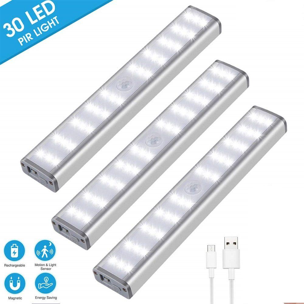 30 LED recargable armario LED del sensor de movimiento regulable luz inalámbrica Bajo iluminación del gabinete USB recargable