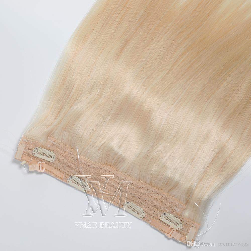 Russian Silky Straight Halo Flip in Human Hair Extensions All Colors 140g No Glue No Clips Fish Line Virgin Human Hair
