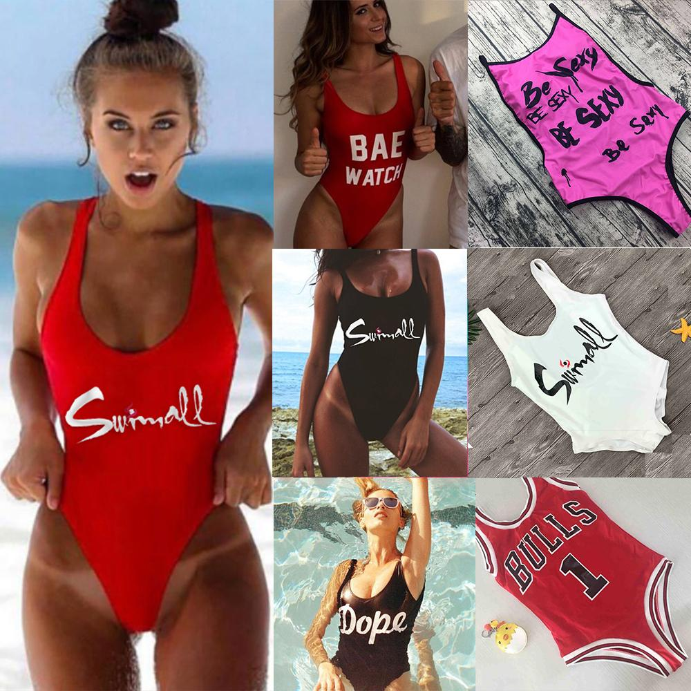 M&M Be Sexy Letter One Piece Swimsuit 2018 Padded Bathing Suits Women Summer Beach Swim Wear Monokini Tong Mailot De Bain Femme