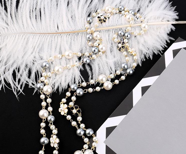 progettista all'ingrosso stile classico elegante bei fiori di perle lunga catena maglione collana dichiarazione per la donna