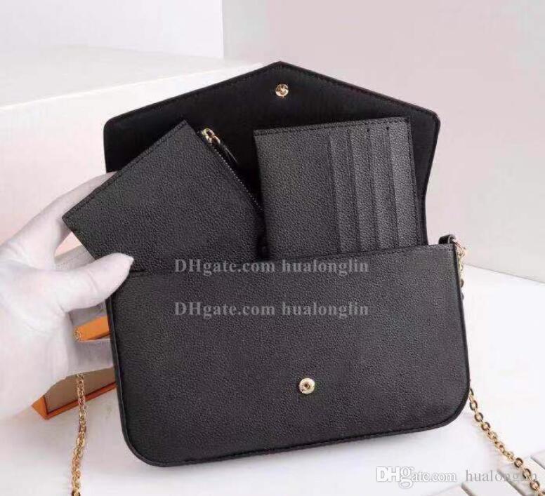 Femmes Messenger Sac à main en cuir boîte originale 3 en 1 haute qualité avec le numéro de série marque desginer