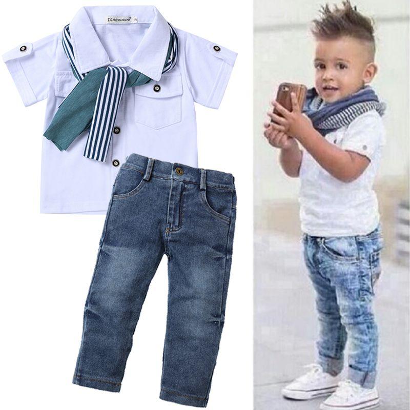 Camisas Pantalón Sets Traje Ropa de Bebe Para Niño de 2 a 7 Años de Moda Niños