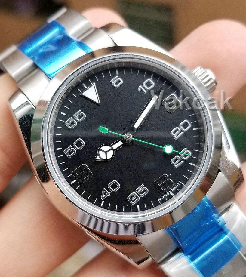 2813 черный верхний мужской механический нержавеющая сталь автоматическое движение воздух король часы спортивные часы саморегулирования на наручных часах