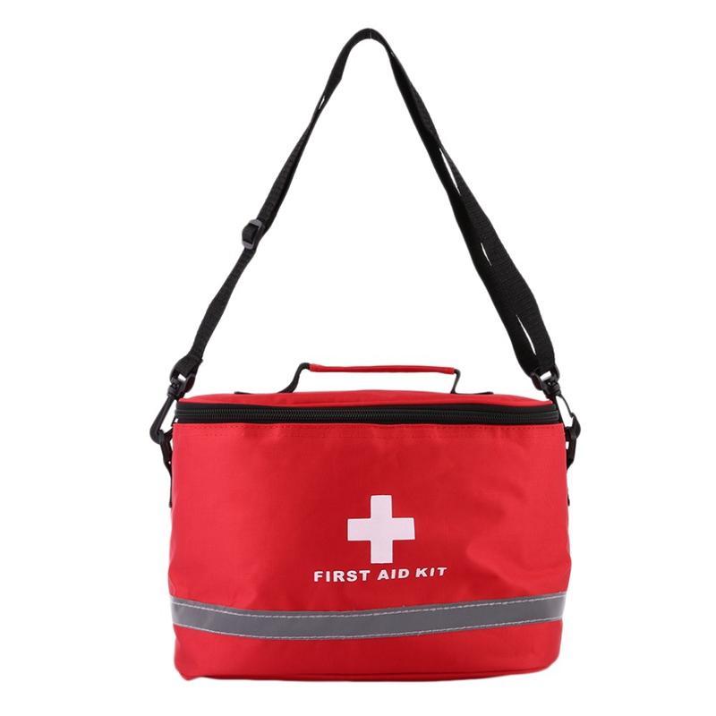 Survival Kit Paquete camping al aire libre Deportes Bolsa Inicio de emergencia de nylon rojo llamativo Cruz Símbolo del bolso de Crossbody