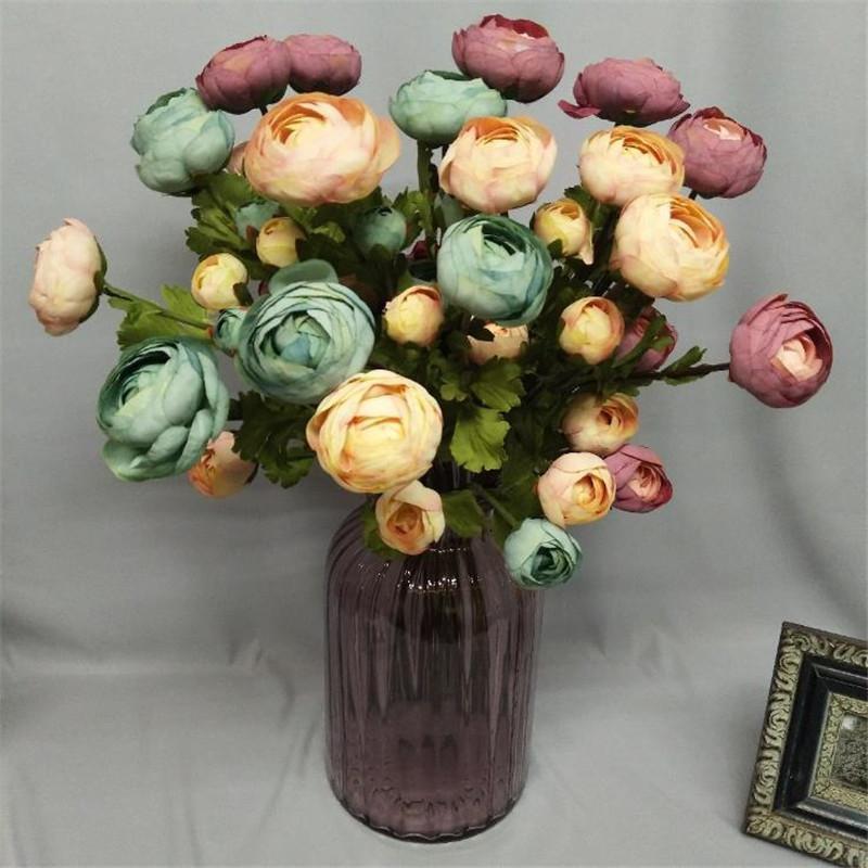 """Fake Short Stem Camellia (3 heads/piece) 22.83"""" Length Simulation Tea Rose for Wedding Home Decorative Artificial Flowers"""