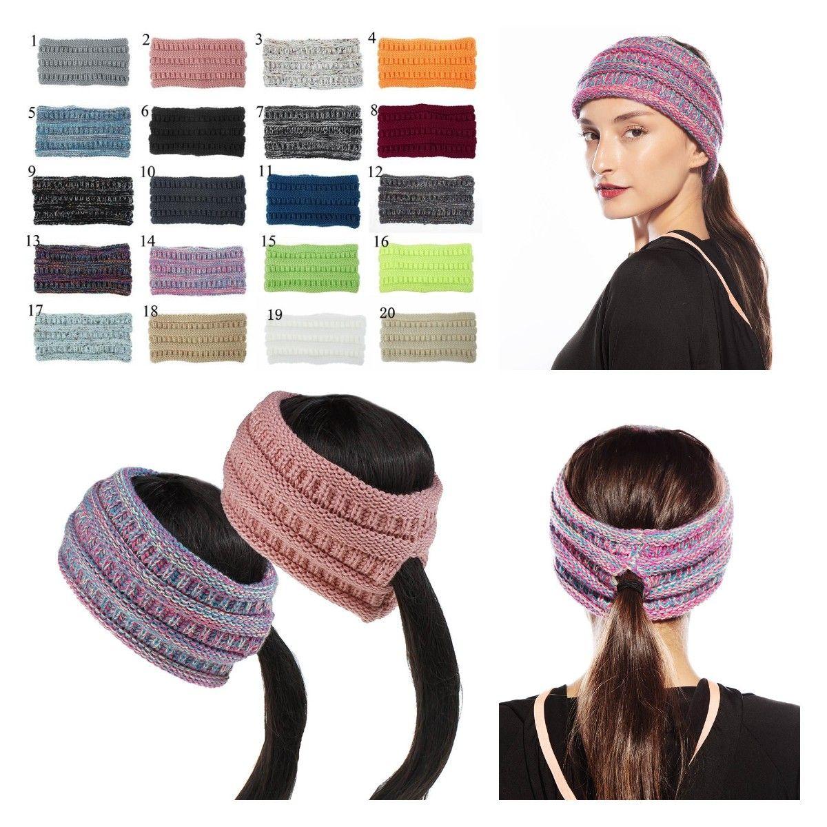 Blulu 3 Pieces Ponytail Headband Women Winter Headband Ear Warmer Running Headband for Women Girls Outdoor Sports 3 Colors