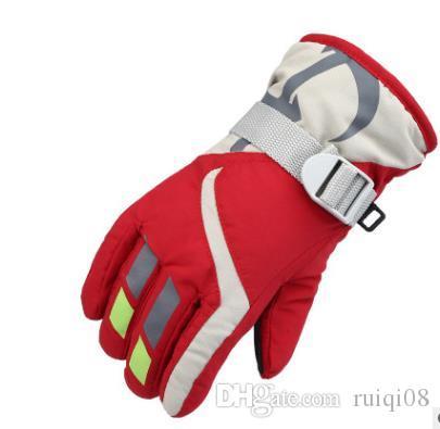 Детские зимние перчатки противоскользящие экран перчатки мягкие спорта на открытом воздухе теплые перчатки с отражающей печати S1025