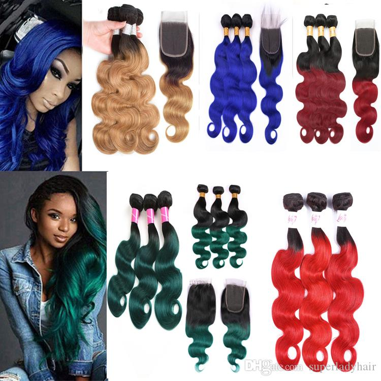 fahion Ombre color body wave human hair extensions 3bundles+lace closure free part 350g human hair weaves 1B/Blue/red/27/green/burgundy
