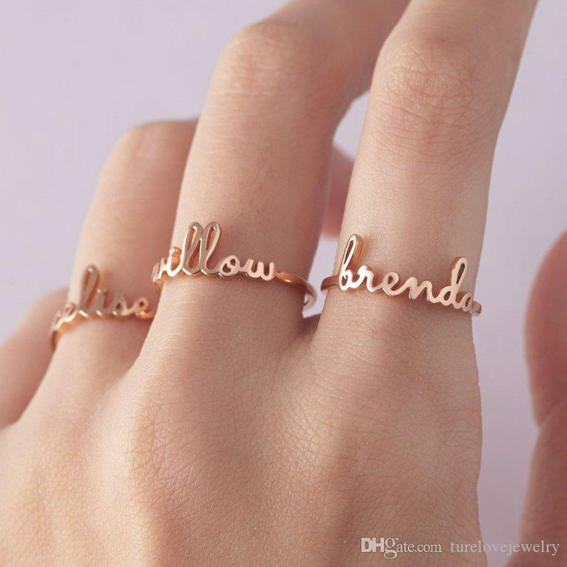 Custom Name Ring Personalized Gold Stainless Steel Rings For Women Wedding Band Custom Letters Initials Ring Mens Engagement Rings Emerald Rings From Turelovejewelry 6 43 Dhgate Com