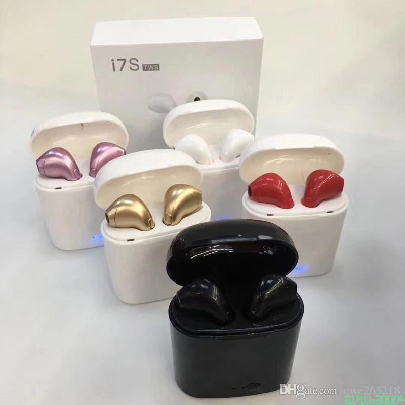 Новая i7s TWS Мини Bluetooth наушники наушники Stereo Bass Беспроводная гарнитура наушники с микрофоном для зарядки Box для все Смарта Iphone 0004