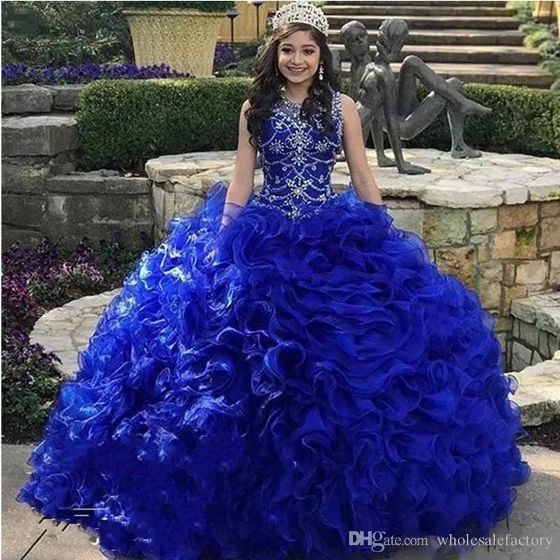 Wielowarstwowe Cascading Ruffles Royal Blue Quinceanera Dresses Jewel Neck Kryształ Zroszony Organza Sweet 16 Ball Suknia Princess Sukienki