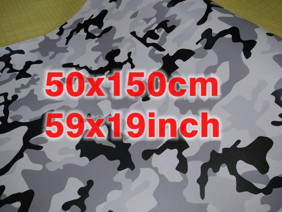 """150x50cm (39x19 """") Piccolo Ubran Bianco Neve Camouflage Wrap Vinili Per AUTO / MOTO Telefono portatile RIVESTIMENTO Adesivi per la pelle Autoadesivo Vinile"""