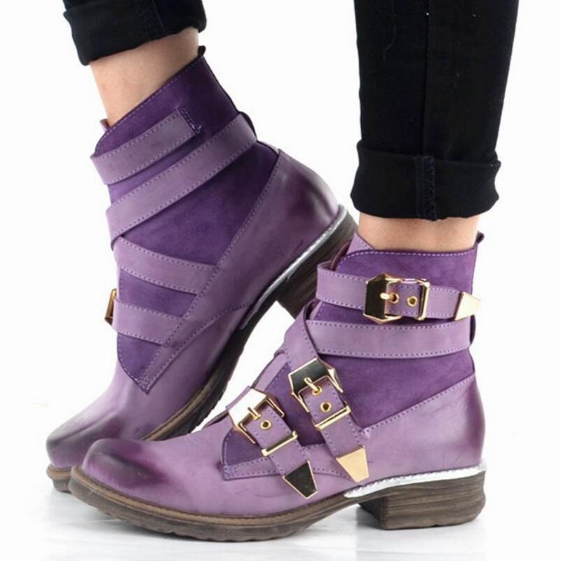 Bonita manera de las mujeres púrpura corto del tobillo botas de cuero azul genuino Zapatos de invierno de arranque atado con correa mujeres de los cargadores