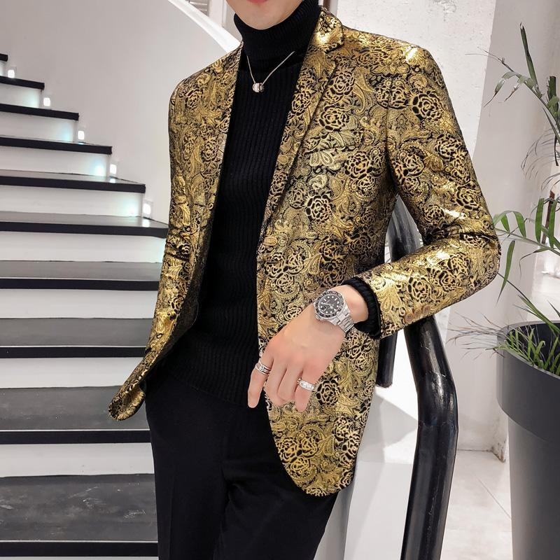 Blazer de oro para los hombres 2019 chaquetas para hombre Slim Fit boda de la impresión floral chaqueta de la chaqueta vestidos de baile estilo británico tamaño grande 5XL