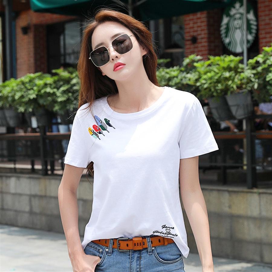 2020 Estate della maglietta superiore di colore solido manicotto mezzo della maglietta superiore di estate legame corpo libero del cotone delle donne di