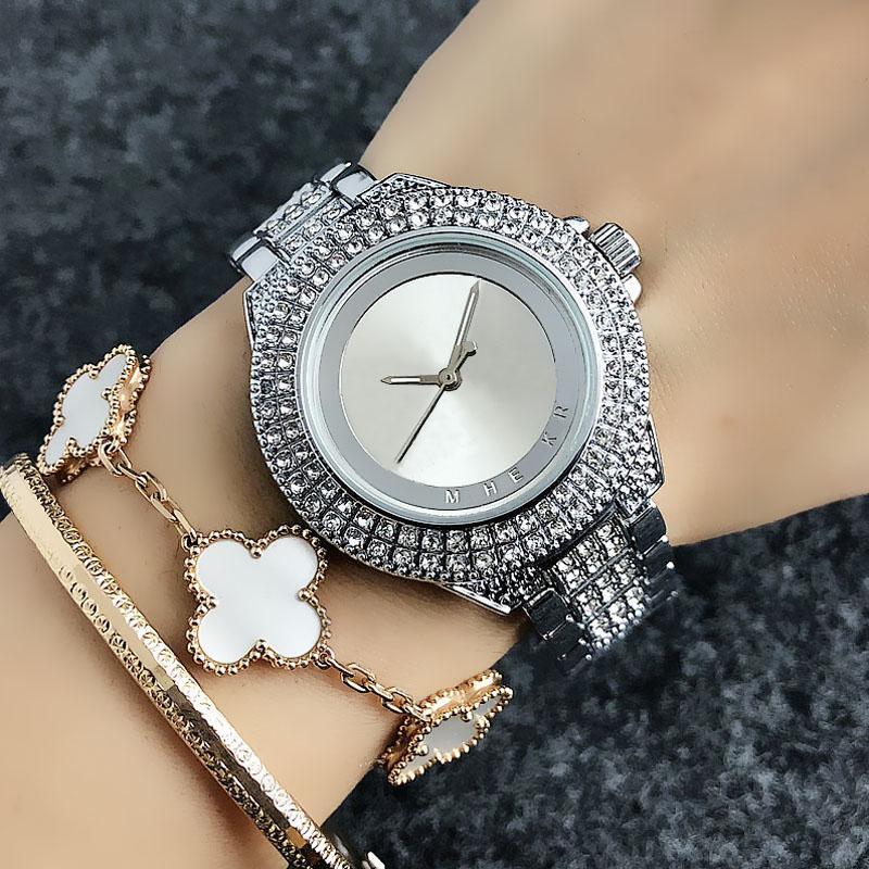Stylisme Marque fille style cristal femmes bracelet en acier métal-bracelet à quartz M50