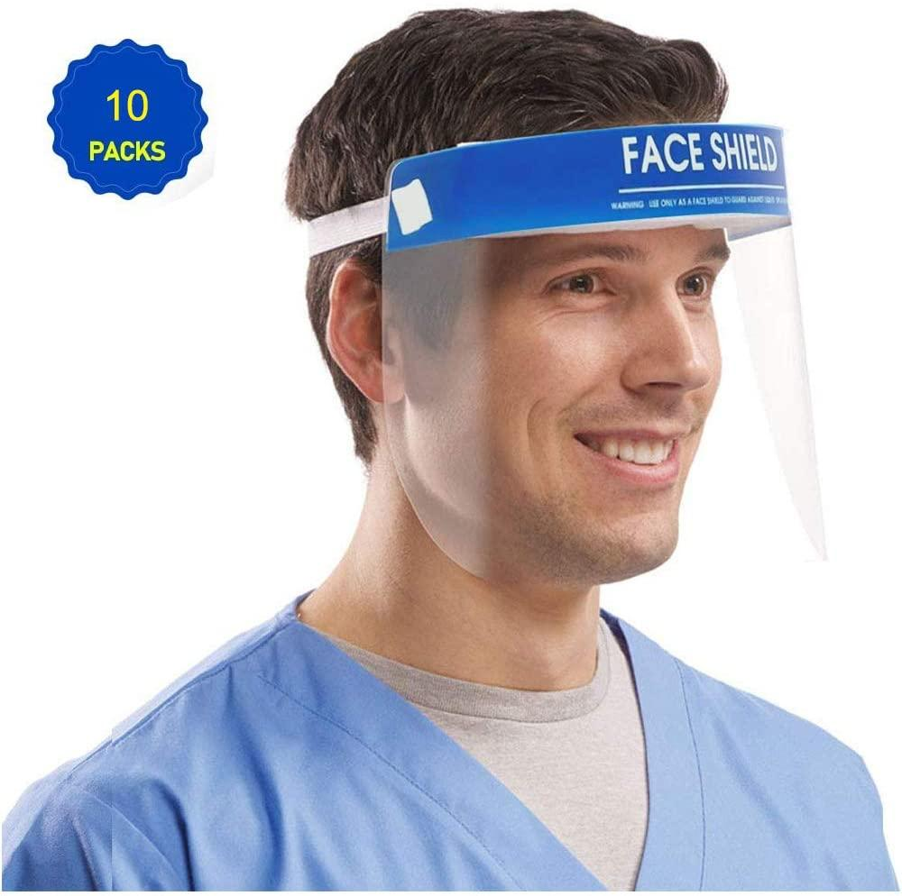 Face Escudo Anti-Fog Olhos proteger e rosto com protetor transparente Film Elastic Band e Comfort Sponge