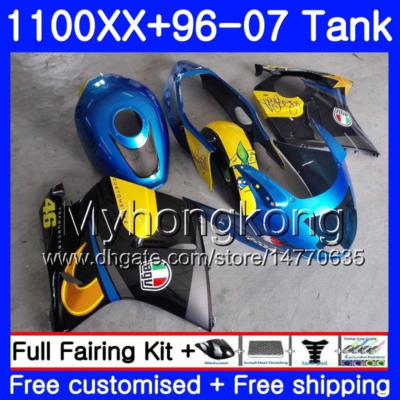 + Tank voor Honda Blackbird CBR1100 XX CBR1100XX 96 97 98 99 00 01 271HM.0 CBR 1100XX 1996 1997 1998 1999 2000 2001 Valerijen Haai Vis Blauw