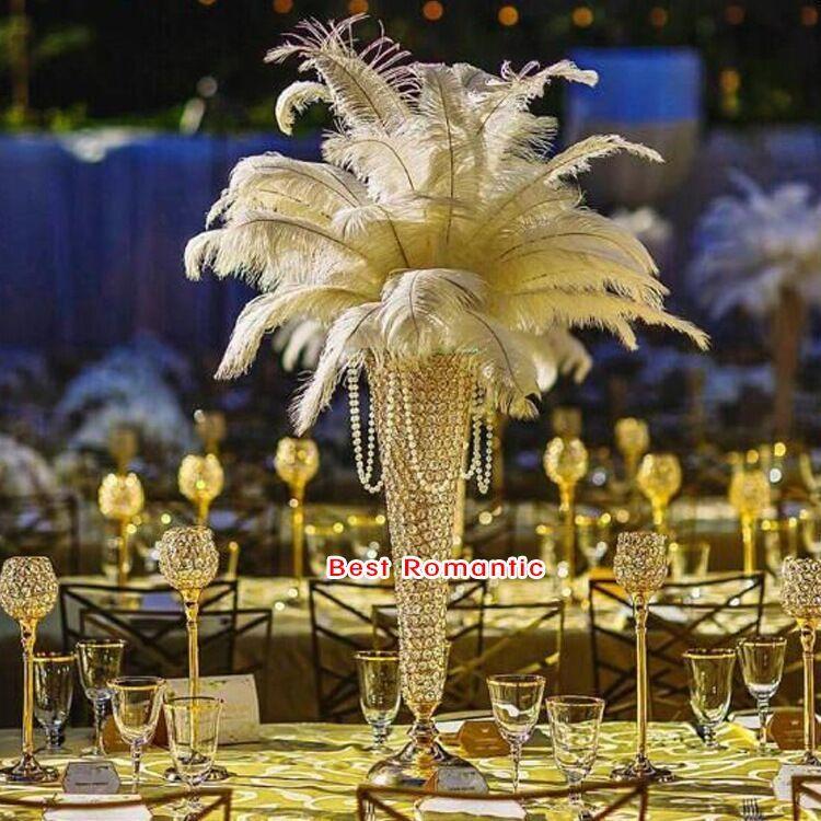 60 см 24 дюйма европейский стиль металл Кристалл ваза для цветов страусиное перо держатель шлейфа золото серебро свадебный центр штук партии декор стола