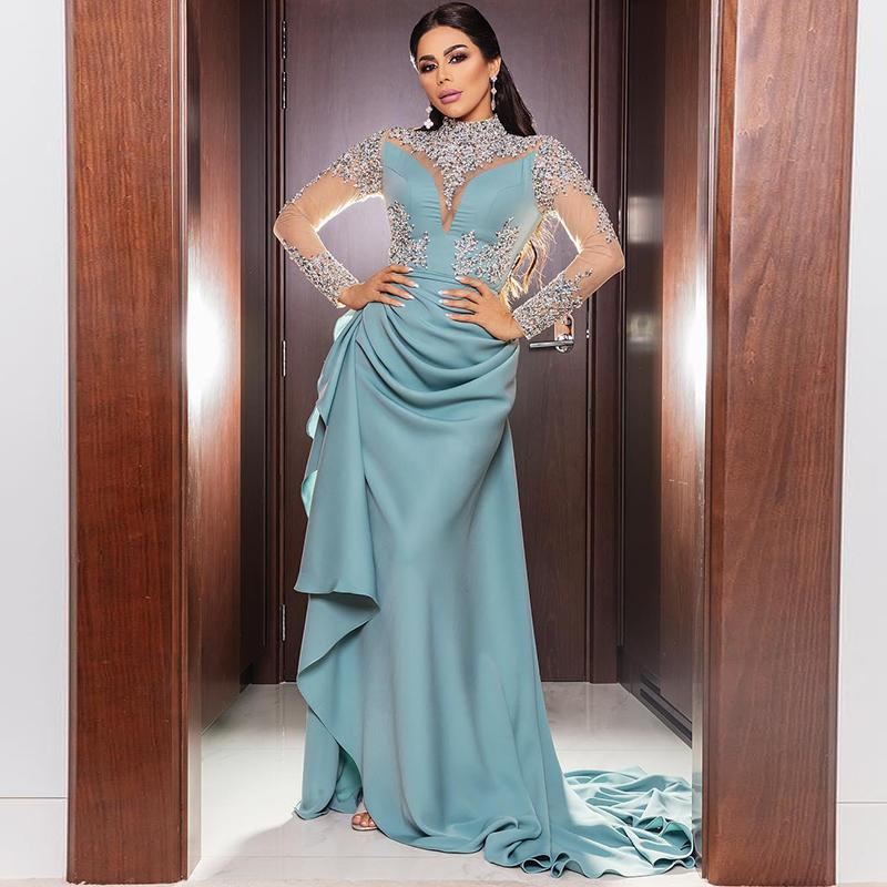 2020 Chiffon Beads Evening Dresses Sequins High Neck Prom Dresses Cheap Arabic Aso Ebi Formal Party Gowns Custom Made