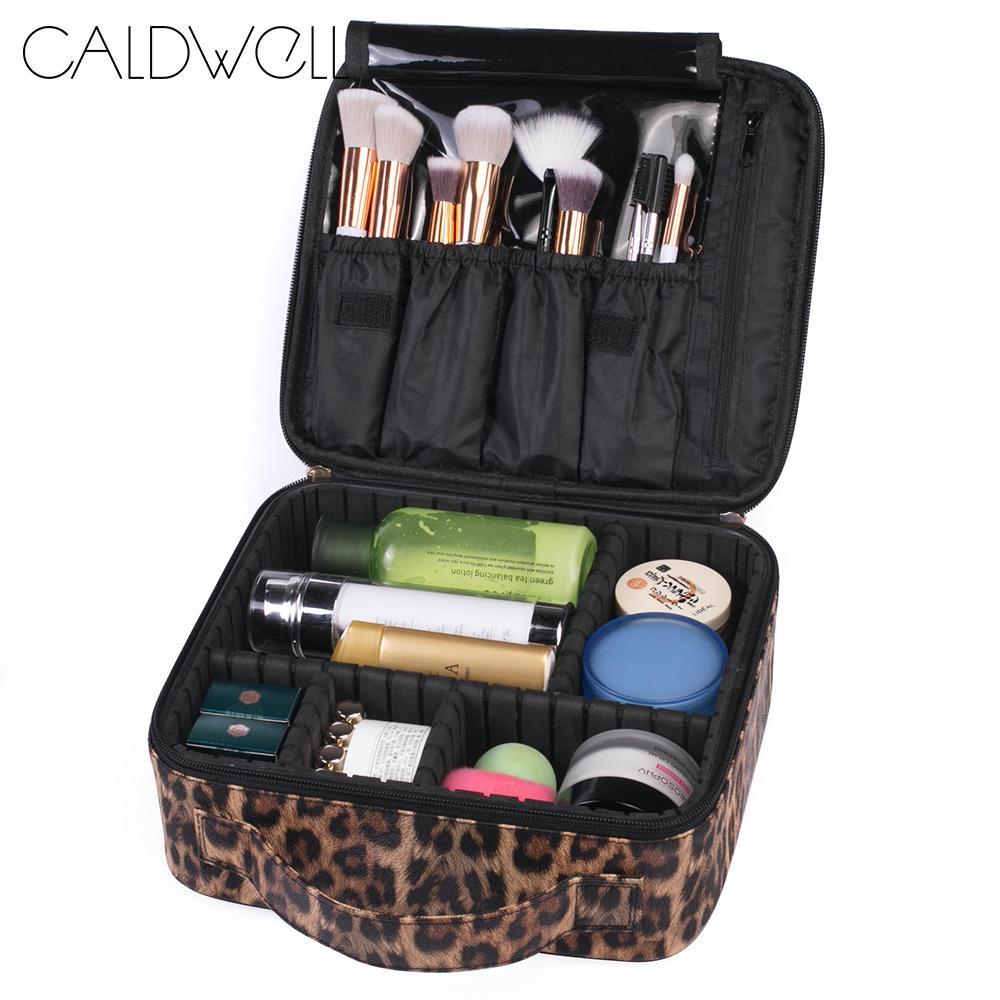CALDWELL Bolsa de maquillaje de viaje de gran capacidad con organizador portátil con cremallera estampado de leopardo regalo para las mujeres
