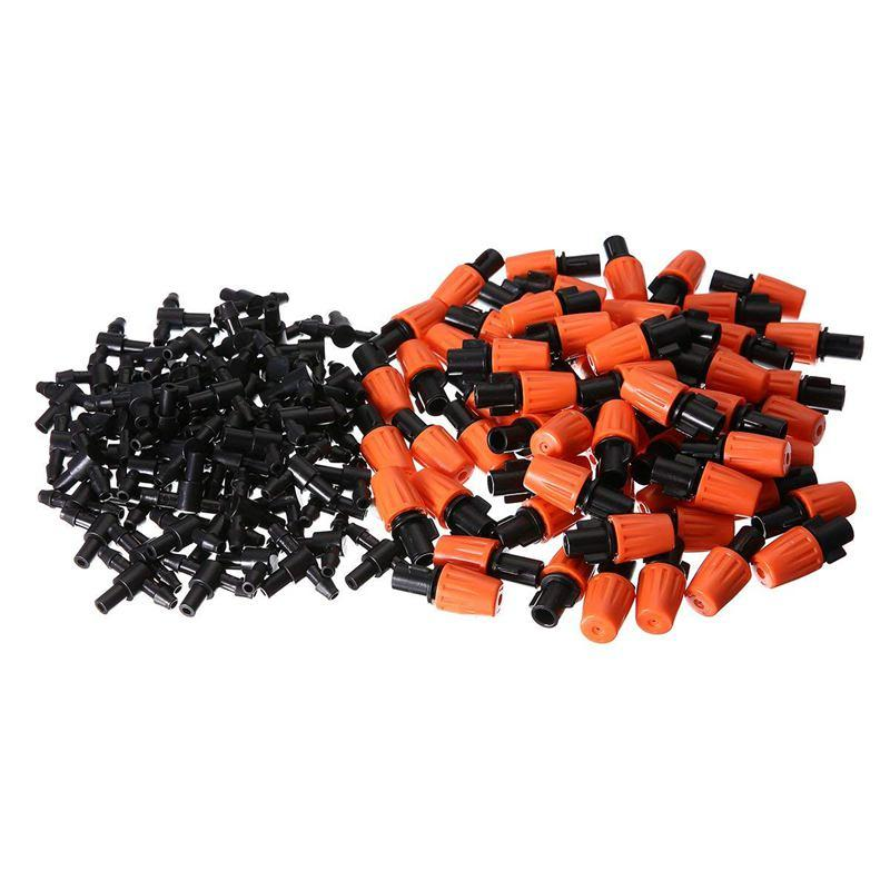 50pcs Adjustable Garden Irrigation System Watering Sprayer Misting Nozzles Sprinkler Heads with Barbed Tee Connectors