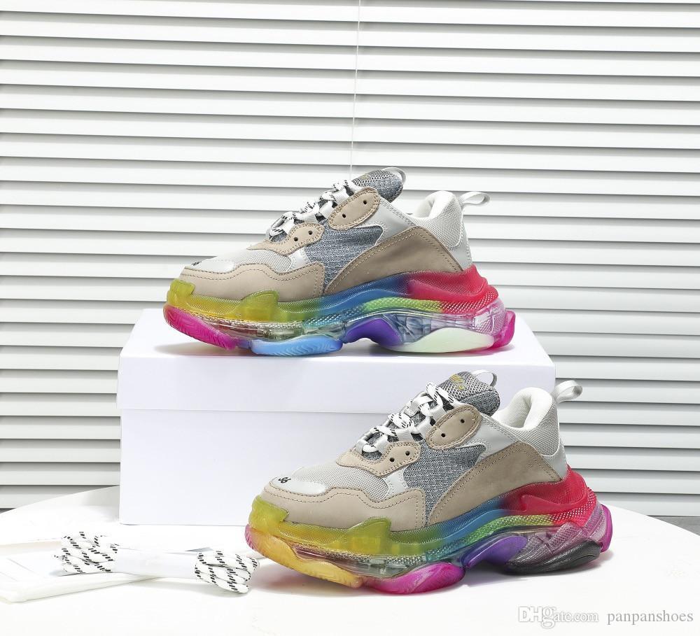 Moda Tasarımcısı Zincir Reaksiyonu Ayakkabı Lüks ayakkabı renkleri karıştırma Günlük Ayakkabılar Mesh Eğitmenler Erkekler Kadınlar Üçlü S mm19072509 için