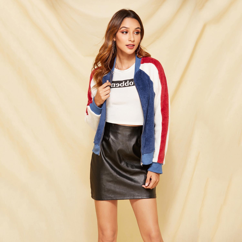 Womens Designer en peluche Veste Filles luxe Manteau Casual Contraste jeunesse couleur Marque Vêtements Femmes Vestes Mode 2020 Vente Hot Top Quanlity