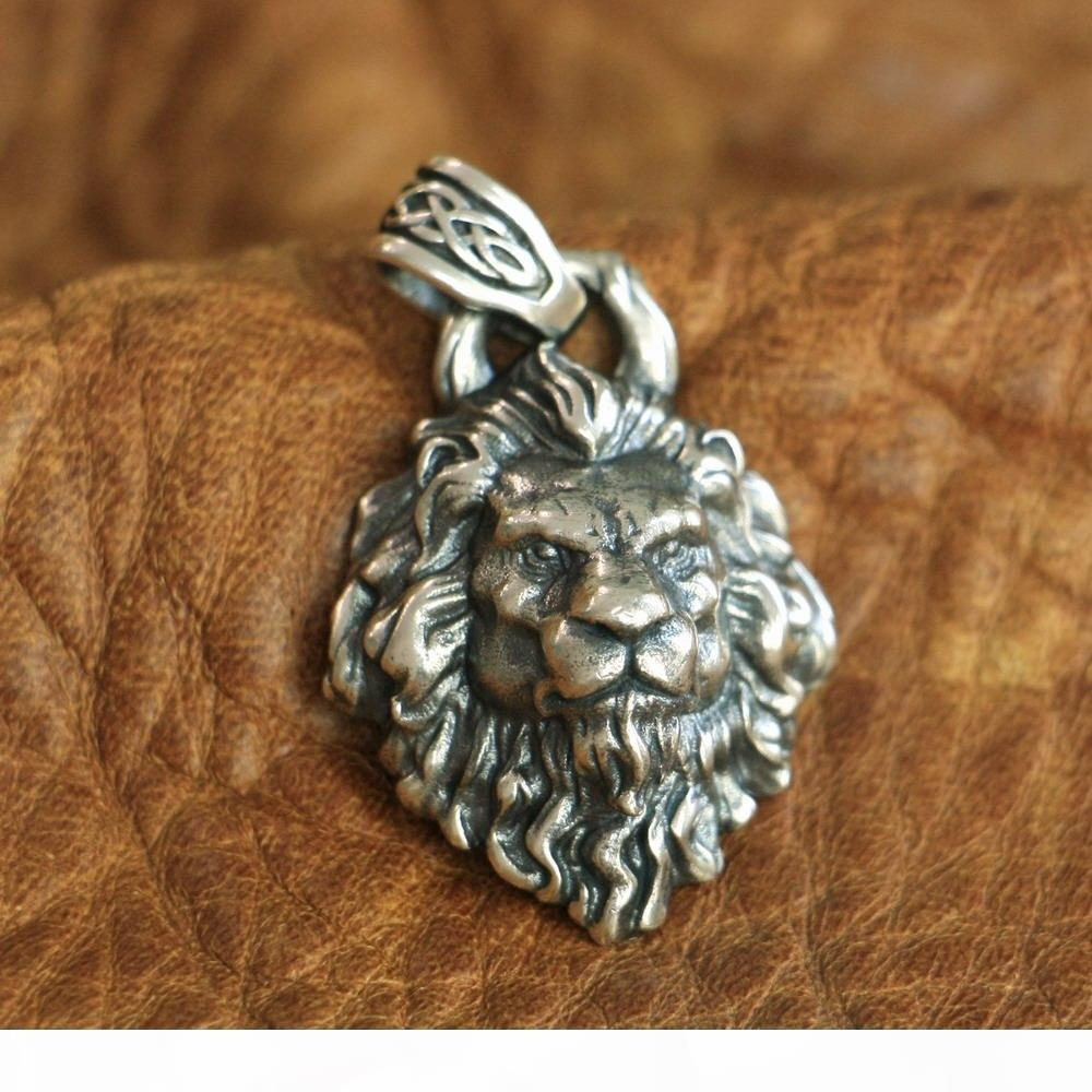 LINSION alta dettagli 925 Silver King of Lion Ciondolo Mens del motociclista Pendant TA112 JP
