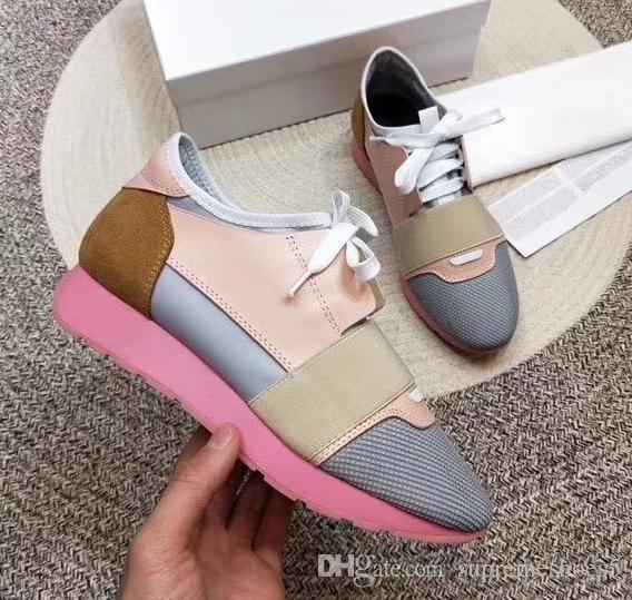 New Designer Homme Femme Chaussures en cuir Casual Low Cut Mesh respirant espadrille extérieur Formateurs Runner Chaussures SneakerUS5-11.5 R4