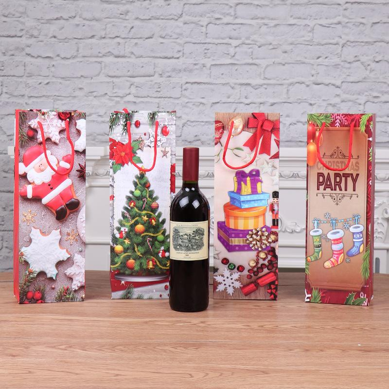 Gift Bag Christmas New Style Modern Portable Kraft Paper Sack Portable Red Wine Bags Factory Direct Selling 1 6jh p1