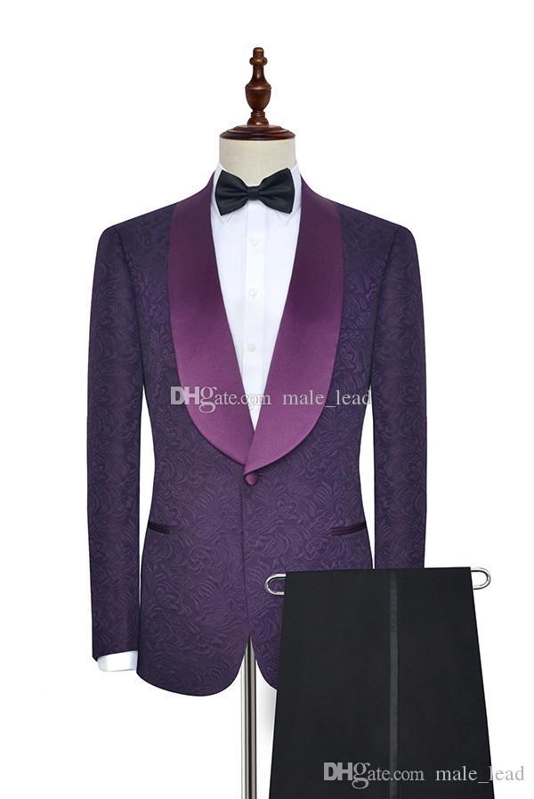 Мода тиснение жениха смокинг платок отворота женихами мужские свадебные платья мужчина куртка Blazer PROM ужин 2 шт (куртка + брюки + галстук) A29