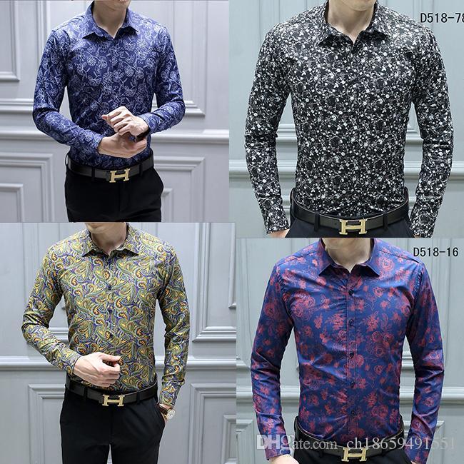 NOVO Designer de Moda Slim Fit Camisas Homens Ouro Preto Estampa Floral Mens Camisas de Vestido de Manga Comprida Negócios Camisas Casuais Roupas Masculinas