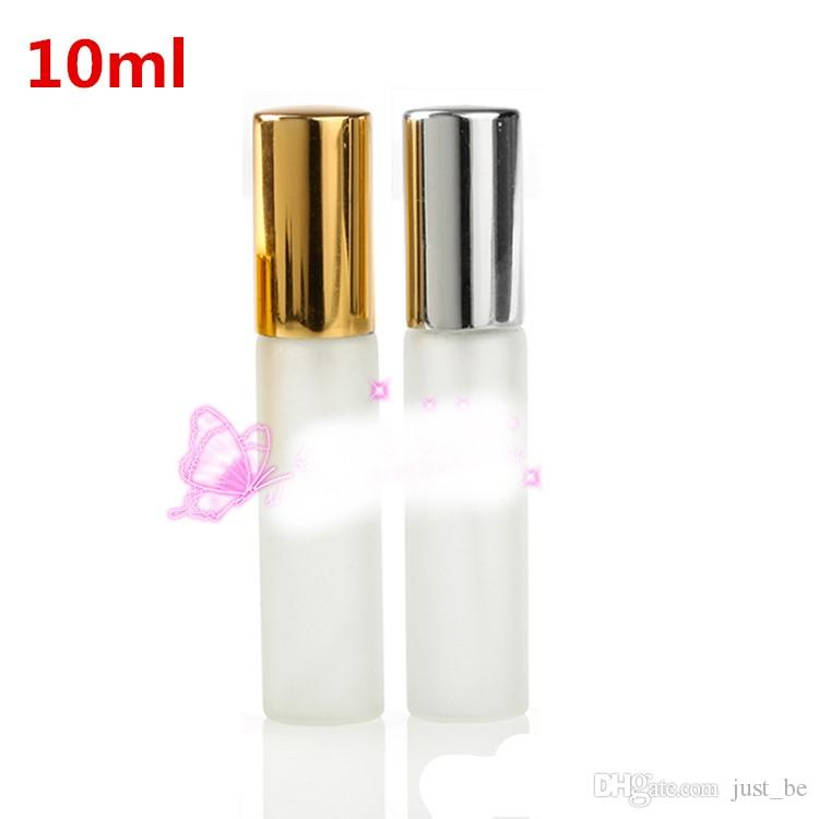 5ML 10ML Frosted Glass Spray Bottle Refillable Perfume Atomizer Mini Sample Test Glass Vials with Gold Silver Cap