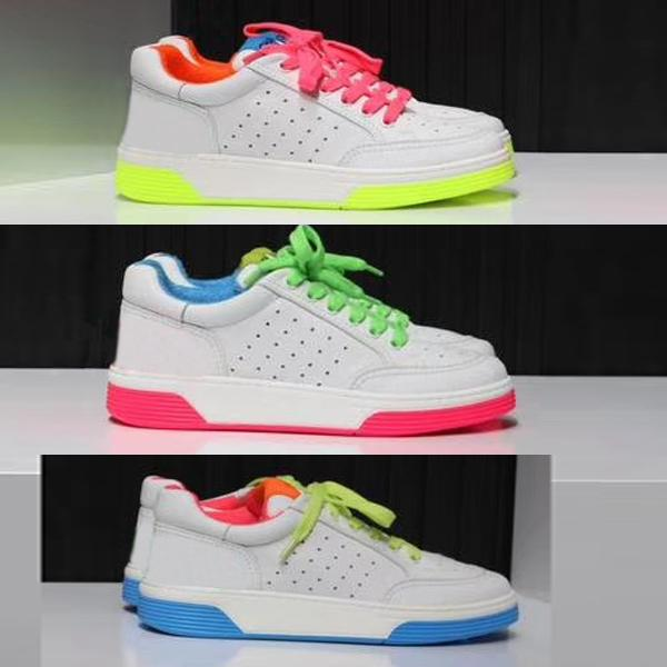 2020 New women designer shoes ladies flat Calfskin Trainers White Fuchsia Patchwork colorful Genuine Leather Lace-up Sneaker Running Shoes
