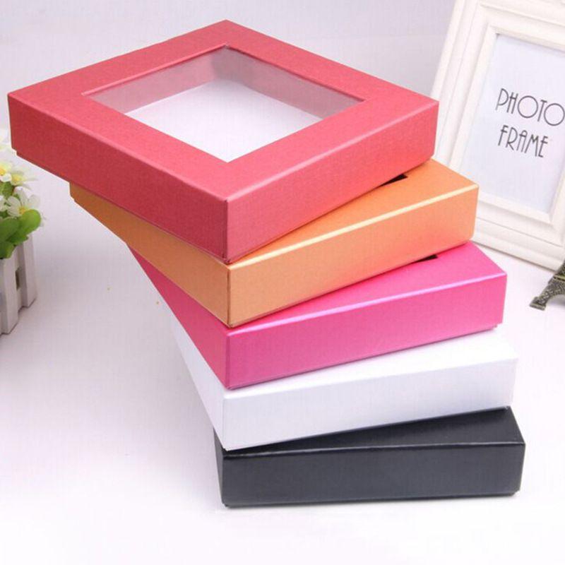Boîte d'emballage en papier carrée avec la grande boîte-cadeau de carton de fenêtre claire en gros