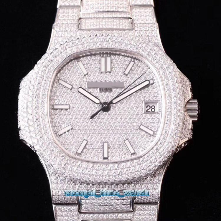 DM Gran lujo diamantes Top versión Relojes caja de la correa 5719 / 10G-010 Plata totalmente pavimentado con diamantes Marcar Cal.324 SC automática del reloj para hombre