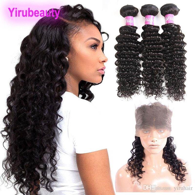 Brazilian Virgin Human Hair Deep Wave Curly 4 Pieces/lot 360 Lace Frontal With Bundles 8-28 inch Natural Color Hair Extensions